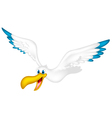 Cute pelican cartoon flying vector