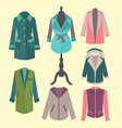 Fashion look flat woman outerwear vector