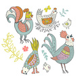 Chicken and rooster cartoon vector