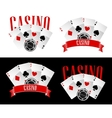 Casino icons with playing cards and chip vector