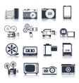 Photo video icons set black vector