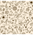 Seamless doodles background with coffee vector