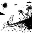 Isolated summer background with palm tree dolphin vector