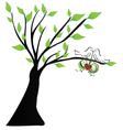 Love birds hanging a heart vector