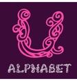 Doodle hand drawn sketch alphabet letter u vector