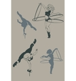 Pinup circus artist silhouette inkpen vector