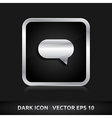 Bubble comment icon silver metal vector