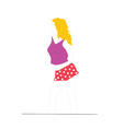 Blonde in red shorts vector