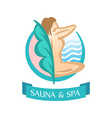 Sauna and spa logo template sitting woman vector