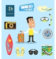 Vacation or business traveler character set vector