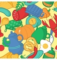 Kitchen seamless pattern in cartoon style vector