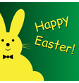 Sitting smiling yellow easter bunny vector