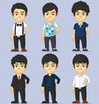 Young man character set vector
