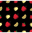 Seamless pattern of fruits and berries on black vector