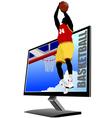 Al 0839 monitor and basketball vector