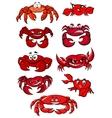 Set of red cartoon marine crabs vector