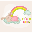 Baby bunny on a rainbow - baby shower card vector