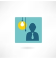 Man with a light bulb icon vector
