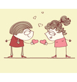 Love postcard with lovers vector