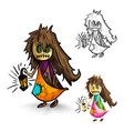 Halloween monsters isolated sketch style witches vector