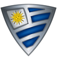Steel shield with flag uruguay vector