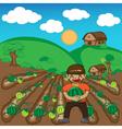 Farmer and watermelon a harvest cartoon vector