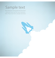 Rocket on sky blue color vector