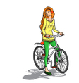 Girl and bicycle vector