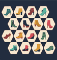 Icons set of fashion footwear autumn collection vector