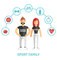 Happy sport and healthy family father and mother vector
