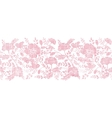 Pink textile birds and flowers horizontal border vector