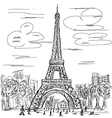 Hand drawn of eifel tower paris france tourist vector