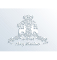 White merry christmas season greeting postcard vector
