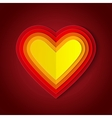 Colorful red and orange paper layers heart shape vector
