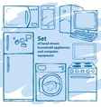 Set of hand-drawn household appliances and vector
