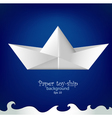 Paper toy ship background vector