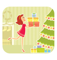 Nice girl with presents vector