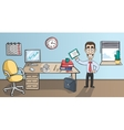 Business man character in office interior vector