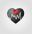Black heart with plaster and graph vector