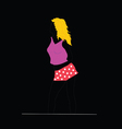 Girl in red shorts on black background vector