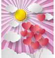 Sun shine with balloon heart vector