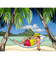 Cartoon man in a hammock between palm trees vector