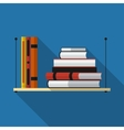 Flat bookshelf with long shadow icon vector