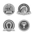 Horseback riding black badges and labels vector