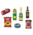 Supermarket groceries colored icons vector