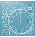 Christmas background with snowflakes and clock vector