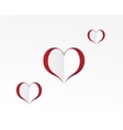 Red hearts paper sticker vector