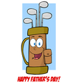 Fathers day greeting card with golf bag vector