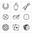 Gambling and fortune icon set vector