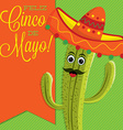 Cactus character sash card in format vector